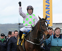National Hunt Horse Racing - 2019 Cheltenham Festival - Thursday, Day Three (St Patrick's Day)<br /> <br /> Winner, P Townend on Min in the 14.50 Ryan Air Steeple Chase (Grade 1, Class 1), at Cheltenham Racecourse.<br /> <br /> COLORSPORT/ANDREW COWIE