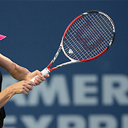 August 19, 2014, New Haven, CT:<br /> Simona Halep hits a backhand during a match against Magdalena Rybarikova on day five of the 2014 Connecticut Open at the Yale University Tennis Center in New Haven, Connecticut Tuesday, August 19, 2014.<br /> (Photo by Billie Weiss/Connecticut Open)