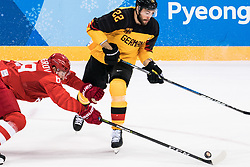 PYEONGCHANG, Feb. 25, 2018  Nikita Nesterov (L) of Olympic athletes from Russia vies for the puck with Matthias Plachta of Germany during men's ice hockey final between Germany and Olympic athletes from Russia at Gangneung Hockey Centre, in Gangneung, South Korea, Feb. 25, 2018. The Olympic Athletes from Russia team defeated Germany 4:3 and won the gold medal. (Credit Image: © Wu Zhuang/Xinhua via ZUMA Wire)
