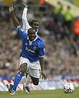 Photo. Aidan Ellis.Digitalsport<br /> Birmingham City v Bolton Wanderers.<br /> FA Barclaycard Premiership.<br /> 06/03/2004.<br /> Birmingham's Olivier Tebily and Bolton's Jay-Jay Okocha