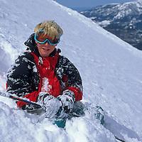 SKIING, Big Sky,MT, Ben Wiltsie (MR) after crash.