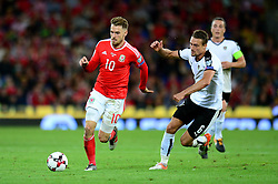 Aaron Ramsey of Wales is closed down by Stefan Llsanker of Austria - Mandatory by-line: Dougie Allward/JMP - 02/09/2017 - FOOTBALL - Cardiff City Stadium - Cardiff, Wales - Wales v Austria - FIFA World Cup Qualifier 2018