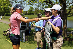 May 25, 2018 - Surrey, Michigan, United Kingdom - Celine Herbin of France greets her standard bearer before starting the second round of the LPGA Volvik Championship at Travis Pointe Country Club, Ann Arbor, MI, USA Friday, May 25, 2018. (Credit Image: © Jorge Lemus/NurPhoto via ZUMA Press)