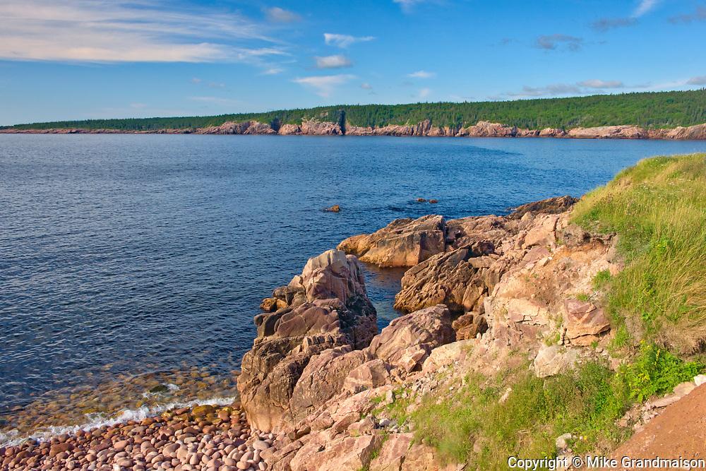 Rocky coastline along the Cabot Strait. Cabot Trail. Cape Breton Island. Appalachian Mountain chain.  <br />Neils Harbour<br />Nova Scotia<br />Canada