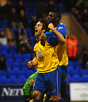Photo: Paul Greenwood.<br />Tranmere Rovers v Hereford City. FA Cup Third Round. 05/01/2008. <br />Hereford's Ben smith and Trevor Benjamin celebrate