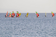 Israel, Eilat windsurfers in the bay of Aqaba