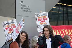 London, UK. 9th October, 2021. Young Socialists and supporters assemble outside the Department for Business, Energy and Industrial Strategy (BEIS) for a London March for Jobs to Downing Street. The march was organised by London Young Socialists and Youth Fight for Jobs, a youth organisation formed in 2009 in response to a rise in youth employment following the 2007-2008 financial crash, to call for decent jobs for young people, a £15ph minimum wage and an end to zero-hour contracts.
