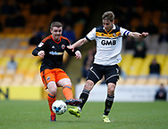 John Fleck of Sheffield Utd  in action with Sam Foley of Port Vale during the English League One match at Vale Park Stadium, Port Vale. Picture date: April 14th 2017. Pic credit should read: Simon Bellis/Sportimage