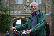 Mathematician and Risk guru, Professor David Spiegelhalter at the Centre for Mathematical Sciences, out and about with his bike in Cambridge.