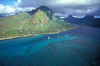 French Polynesia, Islands in the South Pacific, part of the French overseas Territories..aerial view of Moorea...Photo by Owen Franken