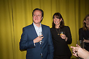 DAVID CAMERON; SAMANTHA CAMERON, Launch of ' More Human',  Designing a World Where People Come First' by Steve Hilton. Party held at Second Home in Princelet St, off Brick Lane, London. 19 May 2015.