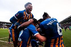 Luke Waterfall of Shrewsbury Town celebrates with teammates after scoring a goal to make it 2-0 - Mandatory by-line: Robbie Stephenson/JMP - 26/01/2019 - FOOTBALL - Montgomery Waters Meadow - Shrewsbury, England - Shrewsbury Town v Wolverhampton Wanderers - Emirates FA Cup fourth round