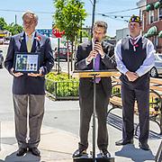 AL Post #19 Commander Earl Menard, East Bronx History Forum President Richard Vitacco, and Al Post # 253 Second Vice Commander Gene DeFrancis