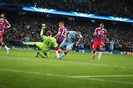 Sergio Aguero of Manchester City turns to celebrate his winning goal  - UEFA Champions League group E - Manchester City vs Bayern Munich - Etihad Stadium - Manchester - England - 25rd November 2014  - Picture Simon Bellis/Sportimage