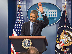 Jan 18, 2017 - Washington, District of Columbia, U.S. - President BARACK OBAMA waves goodbye at his final press conference in the James Brady briefing room of the White House. Obama defended his decision to release Army Private Chelsea Manning from prison early. (Credit Image: © Ken Cedeno via ZUMA Wire)