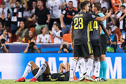 referee Felix Brych give a red card to Cristiano Ronaldo dos Santos Aveiro of Juventus FC during the UEFA Champions League group H match between Valencia FC and Juventus FC at Estadi de Mestalla on September 19, 2018 in Valencia, Spain