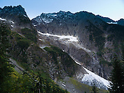 Mountain walls surround our hiking trail to Cascade Pass in North Cascades National Park, Washington, USA.