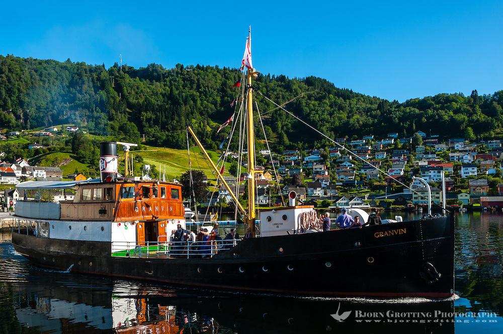 Norway, Norheimsund. The old passenger boat Granvin in Hardangerfjord.