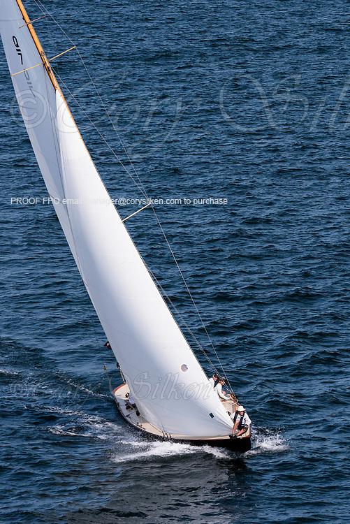 Falcon sailing in the Panerai Newport Classic Yacht Regatta.