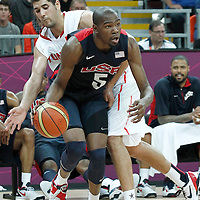 31 July 2012: USA Kevin Durant dribbles during 110-63 Team USA victory over Team Tunisia, during the men's basketball preliminary, at the Basketball Arena, in London, Great Britain.
