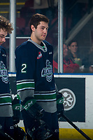 KELOWNA, BC - MARCH 6: Simon Kubicek #2 of the Seattle Thunderbirds lines up against the Kelowna Rockets at Prospera Place on March 6, 2020 in Kelowna, Canada. (Photo by Marissa Baecker/Shoot the Breeze)