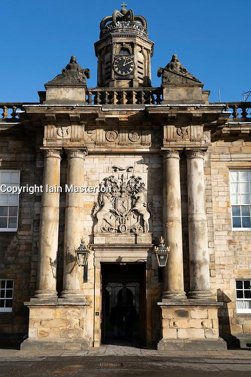 Entrance to Palace of Holyrood in Edinburgh, Scotland, UK