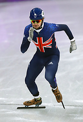 Great Britain's Farrell Treacy on his way to finishing fourth in the Short Track Speed Skating - Men's 1,000m Quarterfinal 3 at the Gangneung Oval during day eight of the PyeongChang 2018 Winter Olympic Games in South Korea.