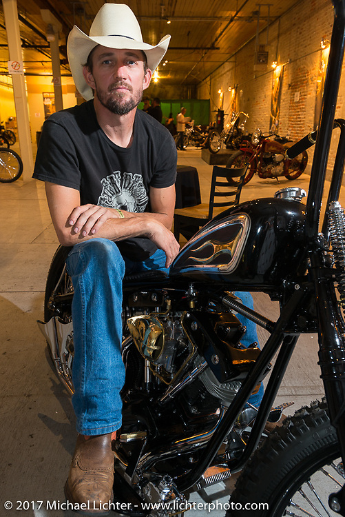 Kyle Shorey of Shade Tree Fabrications at the In Motion invitational bike show at the Lone Star Rally. Galveston, TX. USA. Friday November 3, 2017. Photography ©2017 Michael Lichter.