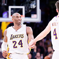 04 January 2014: Los Angeles Lakers guard Kobe Bryant (24) is congratulated by Los Angeles Lakers forward Ryan Kelly (4) during the Los Angeles Lakers 88-87 victory over the Indiana Pacers, at the Staples Center, Los Angeles, California, USA.