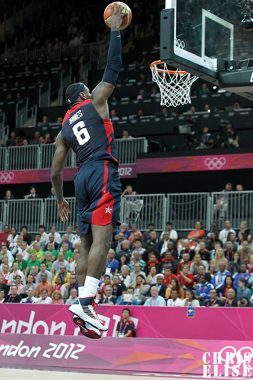 04 August 2012: USA LeBron James goes for the dunk during 99-94 Team USA victory over Team Lithuania, during the men's basketball preliminary, at the Basketball Arena, in London, Great Britain.