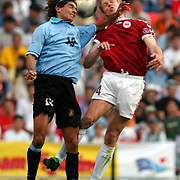 Uruguay's Sebastian Abreu and Denmark's Martin Laursen