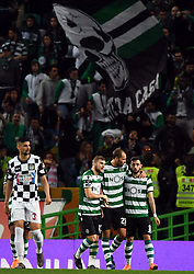 LISBON, April 23, 2018  Dost (2nd R) of Sporting celebrates with teammates during Portuguese League soccer match between Sporting CP and Boavista FC in Lisbon, Portugal, on April 22, 2018. Sporting won 1-0.  wll) (Credit Image: © Zhang Liyun/Xinhua via ZUMA Wire)