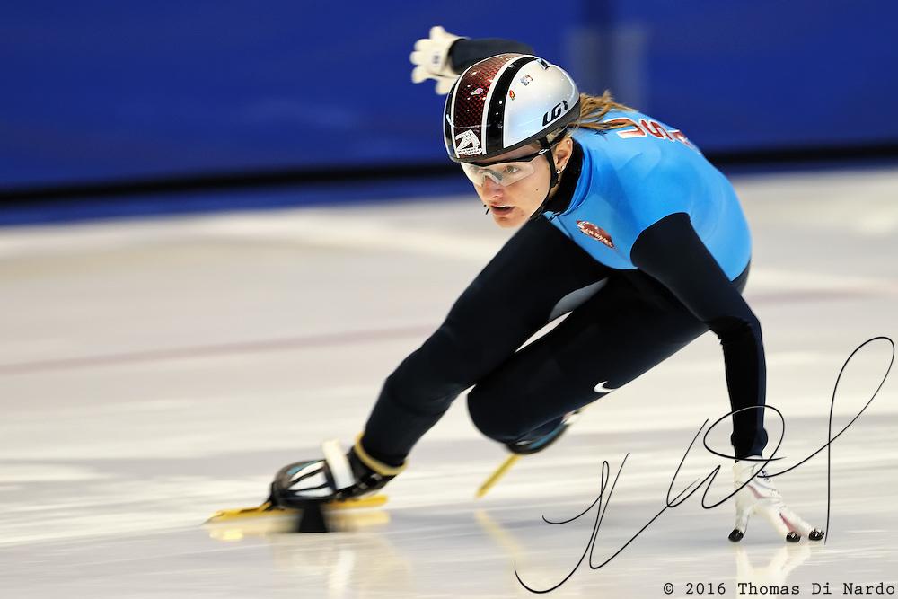 September 12, 2010 - Kearns, Utah - Morgan Izykowski prepares for the Desert Classic short track speedskating competition held at the Utah Olympic Oval.
