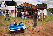 Glastonbury Festival, 2015.<br /> Two young boys in a toy sci-fi car being taken around the festival