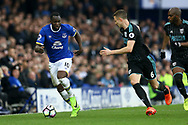 Jonny Evans of West Bromwich Albion (r) looking to tackle Romelu Lukaku of Everton. Premier league match, Everton v West Bromwich Albion at Goodison Park in Liverpool, Merseyside on Saturday 11th March 2017.<br /> pic by Chris Stading, Andrew Orchard sports photography.