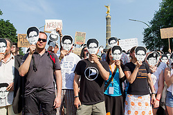 59869661  The Pirate Party against the NSA - the U.S. Government during the German country visit from President Obama Berlin in Berlin, Germany, Wednesday June 19, 2013.<br /> UK ONLY