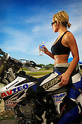Jennifer Gray (model released) on Yamaha 2006 YZ-450 Supermoto (supermotard) race bike at McArthur Park Raceway in Oklahoma City.