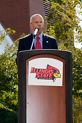 19 September 2009: Illinois State Athletic President Al Bowman makes a short speech as Illinois State University took the day to celebrate 2 of it's own, the late Will Robinson and national hero Doug Collins.  Will Robinson became the first black head basketball coach in NCAA Division I history when names ISU basketball coach in 1970.  Doug Collins was an Illinois State standout basketball player who represented the United States in the 1972 Olympics, played NBA ball for several years where he later coached and recently recieved the Curt Gowdy Media Award for career in broadcasting.  A statue was erected in their honor on the terrace just north of the main entrance to Redbird Arena on ISU's campus in Normal IL