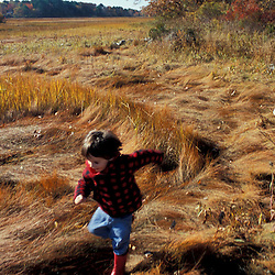 "Young friends play on a New Hampshire salt marsh. Tidal marsh.  ""Massacre Marsh."" Rye, NH"