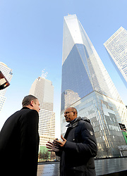 French State Secretary for European Affairs Harlem Desir is escorted by National September 11 Memorial and Museum president and CEO Joseph Daniels as he visits the 9/11 memorial in New York City, NY, USA, on January 23, 2015. Photo bu Dennis Van Tine/ABACAPRESS.COM  | 484760_007 New York City Etats-Unis United States