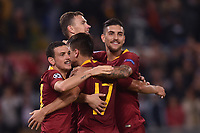 Celebrations after score of Edin Dzeko Roma, with Florenzi, Under, Pellegrini.<br /> Roma 23-10-2018 Stadio Olimpico<br /> Football Calcio UEFA Champions League 2018/2019, Group G. <br /> AS Roma - CSKA Moscow<br /> Foto Antonietta Baldassarre / Insidefoto