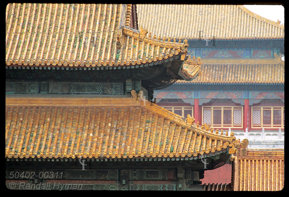 Vast, tiered tile roofs overlap in this view deep within the Forbidden City; Beijing. China