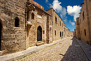 The Medieval buildings of the Avenue of the Knights where there were 7 dfferent lodges for Knights speaking different languages. Rhodes, Greece, UNESCO World Heritage Site