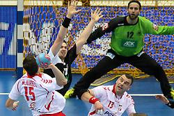 07.06.2014, Ergo Arena, Danzig, POL, IHF WM Qualifikation, Polen vs Deutschland, im Bild Niemcy, Michal Jurecki (POL), Bartosz Jurecki (POL), Hendrik Pekeler (GER), Silvio Heinevetter (GER) // during the IHF world championship qualification match between Poland and Germany at the Ergo Arena in Danzig, Poland on 2014/06/07. EXPA Pictures © 2014, PhotoCredit: EXPA/ Newspix/ Tomasz Jastrzebowski<br /> <br /> *****ATTENTION - for AUT, SLO, CRO, SRB, BIH, MAZ, TUR, SUI, SWE only*****