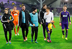 Luka Zahovic, Damjan Vuklisevic, Ales Mejac, Goran Cvijanovic, Dare Vrsic of Maribor after the football match between NK Maribor and Sevilla FC (ESP) in 1st Leg of Round of 32 of UEFA Europa League 2014 on February 20, 2014 at Stadium Ljudski vrt, Maribor, Slovenia. Photo by Vid Ponikvar / Sportida