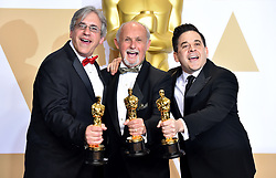 March 4, 2018 - Los Angeles, California, USA - 3/4/18.Mark Weingarten, Gregg Landaker and Gary A. Rizzo winners of the award for Best Sound Mixing for ''Dunkirk'' at the 90th Annual Academy Awards (Oscars) presented by the Academy of Motion Picture Arts and Sciences..(Hollywood, CA, USA) (Credit Image: © Starmax/Newscom via ZUMA Press)