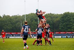 Doncaster Knights Number 8 Alex Shaw and Bristol Rugby Number 8 James Phillips compete at a lineout - Mandatory byline: Rogan Thomson/JMP - 18/05/2016 - RUGBY UNION - Castle Park - Doncaster, England - Doncaster Knights v Bristol Rugby - Greene King IPA Championship Play Off FINAL 1st Leg.