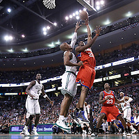 12 May 2012: Philadelphia Sixers forward Thaddeus Young (21) goes for the skyhook over Boston Celtics shooting guard Ray Allen (20) during the Boston Celtics 92-91 victory over the Philadelphia Sixers, in Game 1 of the Eastern Conference semifinals playoff series, at the TD Banknorth Garden, Boston, Massachusetts, USA.
