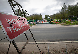 © Licensed to London News Pictures. 28/04/2019. London, UK. A sign marks the entrance to High Speed 2 rail project works in Colne Valley west of London as Extinction Rebellion activists joined with Stop HS2 protestors to occupy trees to stop their felling for the HS2 rail project. Workers were expected to start cutting down the trees yesterday and to continue today but the protests have stopped the work. Photo credit: Peter Macdiarmid/LNP