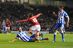 Luke Freeman of Bristol City goes down in the penalty box after a challenge by Uwe Hunemeier of Brighton & Hove Albion - Mandatory byline: Dougie Allward/JMP - 07966 386802 - 20/10/2015 - FOOTBALL - American Express Community Stadium - Brighton, England - Brighton v Bristol City - Sky Bet Championship